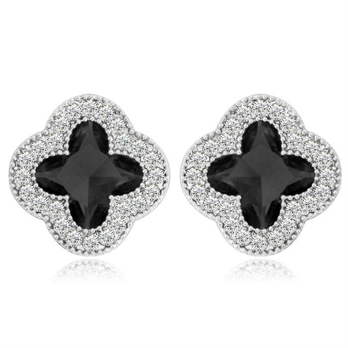NICETER 18K Real White Gold Brincos Small Cute Flower Crystal Stud Earrings Women 2015 Hotsale - Niceter Jewelry store