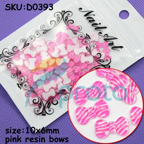 Freeshipping-100pcs Fashion Resin Pink Resin bows with Rhinestone 3D Nail Art Decoration SKU:D0393