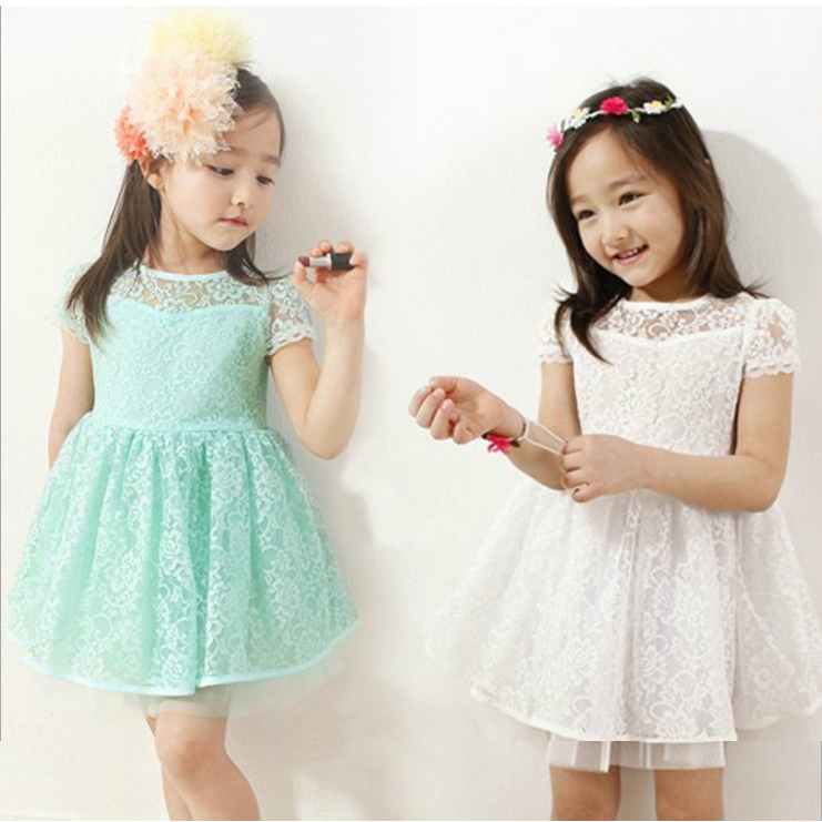 FFREE SHIPPING Girls Summer casual blue lace dress Childrens  Girls Fashion Princess Dress teenage girl 6-8-14 age clothes kids<br><br>Aliexpress