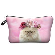 Multi-Colors Clutch Storage Women Cosmetic Cases 3D Print Fashion Roses Cat Lady Travel Handbag Makeup Bag H40
