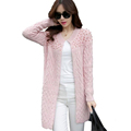 New Arrive Autumn Winter Elegant Beading O neck Long Knitted Sweaters Women Coat Casual Cardigans Knitwear
