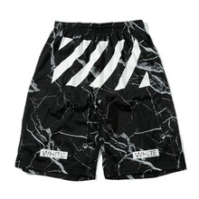 2016 summer new collection Off white c/o virgil abloh  Black marble mesh shorts men's sport mesh shorts(China (Mainland))
