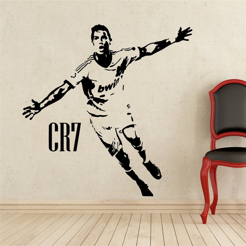 Home decor sports football wall stickers pvc vinyl for Cristiano ronaldo wall mural