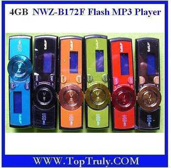 singapore post free shipping .NWZ-B172F Flash MP3 Player (4GB)  Black  red blue grey green orange CHOICE supplier,10 piece /set