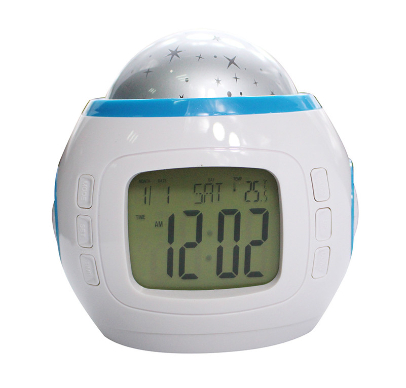 buy led alarm clock battery operated electronic music starry sky projection. Black Bedroom Furniture Sets. Home Design Ideas