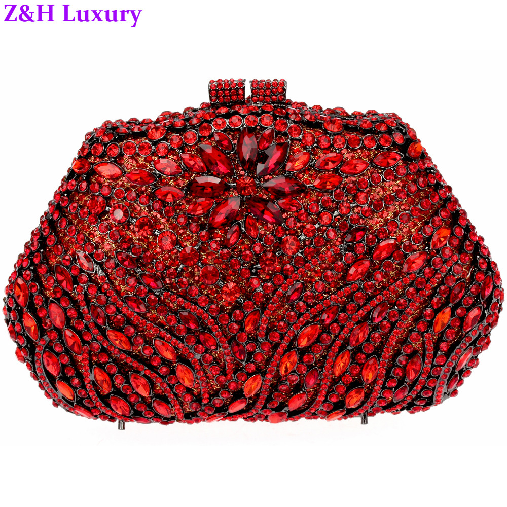 2016 Popular Chinese Red Evening Bag Party Women Hard Case Gun Metal Plated Silver Lining Shoulder Chain Bridal Wedding Purse(China (Mainland))