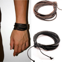 Monochrome Woven Leather Bracelet  Pure Hand-painted Leather Rope Bracelets  WOMEN AND MEN Bracelet  with Braided Rope PK043-1pc
