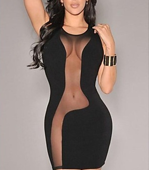 Womens Clothing sexy Half Slips intimate Black sexy transparent mesh mosaic nightgown(China (Mainland))