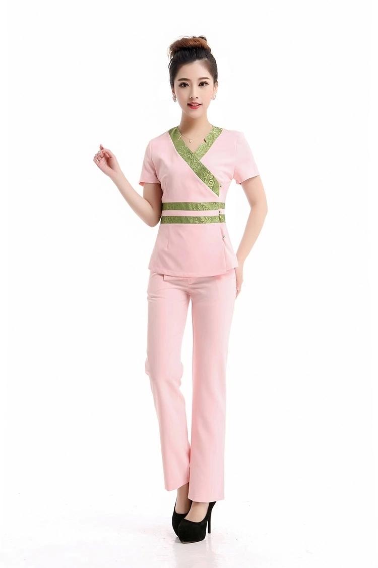 2015 Free shipping high quality summer beauty salon nurse uniforms female hospital medical uniform Thai style women work wears(China (Mainland))