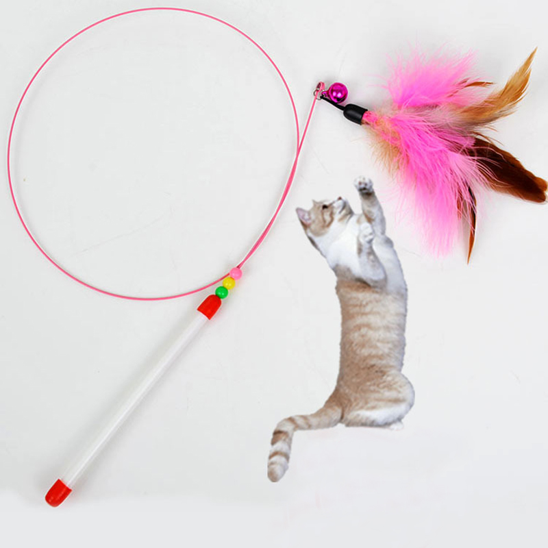 Pet cat toys cute design steel wire feather teaser wand for Cat wand toys