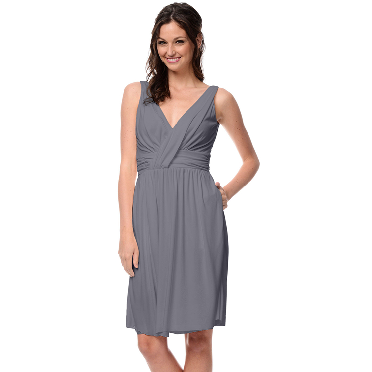 Grey Chiffon Short Bridesmaid Dresses Knee Length Custom ...