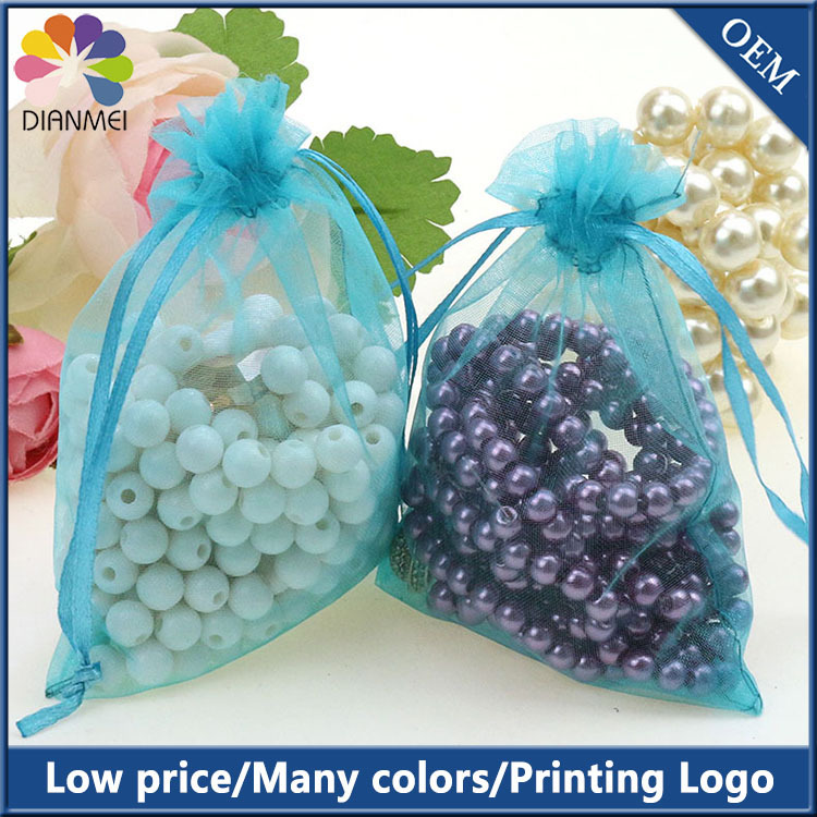 100pcs/lot 9x12cm Lake Blue Organza Bag Of Present Tulle Wedding Favor Gift Candy Packaging Bags Accept Custom Logo Printing(China (Mainland))