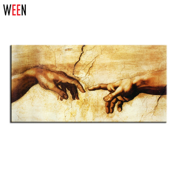 Famous Canvas Printing (Creation Of Adam) By Michelangelo Print On Canvas For Wall Decor Hand Pictures Canvas Art Frameless
