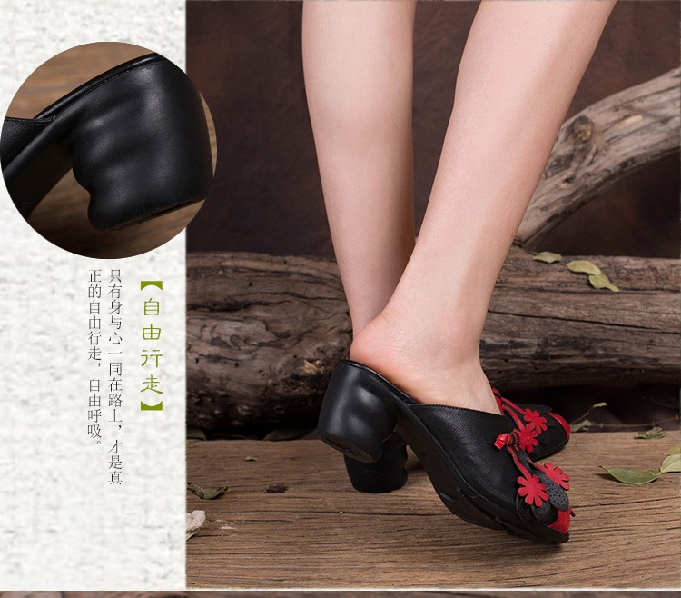 Handmade genuine leather women slippers national trend embossed leather flower cutout open toe shoes thick heels sandals T830