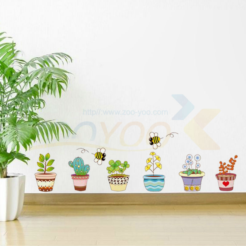 732^ Flowers plant pot baseboard beautiful nature butterfly Skirting handdrawing vinyl window sticker PVC wall decor Christmas(China (Mainland))