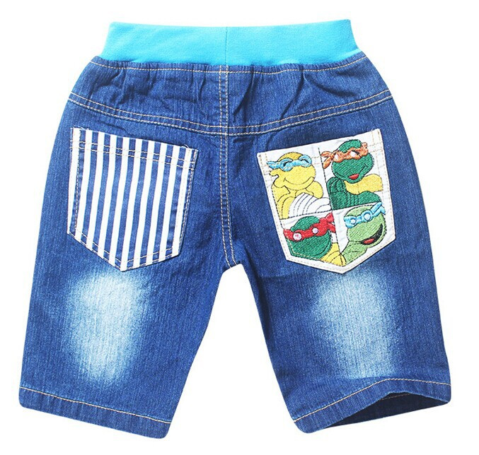 2015 New Children Top Shorts Boys Jeans For 2-8Yrs New Kids Summer Trousers Cartoon Turtles Straight Casual Fashion Short Pants