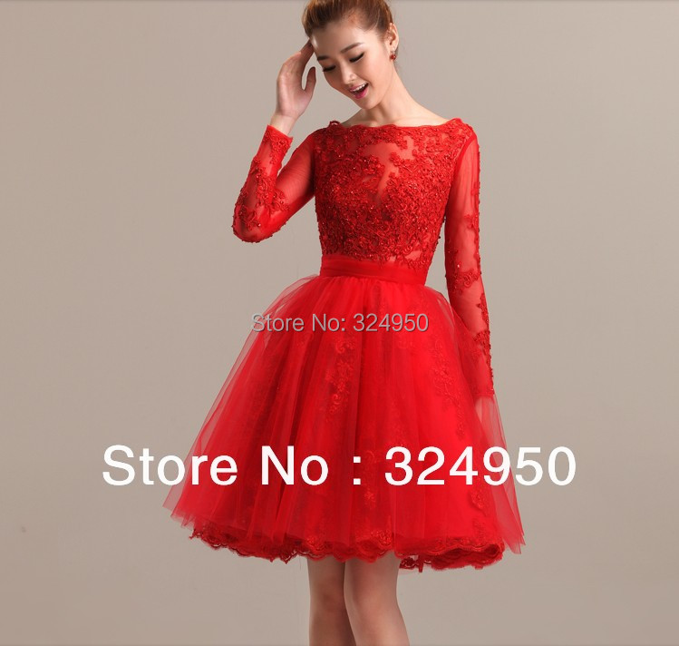 long sleeve knee length red lace dress « Bella Forte Glass Studio