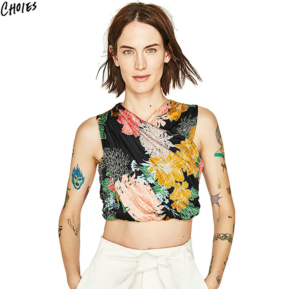 Polychrome Floral Print Wrap Front Cropped Top 2017 Summer New Sleeveless V  Neck Hollow Out Back Short Tank Tops. Designer Crop Tops Promotion Shop for Promotional Designer Crop