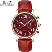 Fashion Brand IBSO BOERNI AIBISINO Watch Woman Logo Luxury Calendar Week 3ATM Quartz Movement Analog Leather Ladies Wristwatches