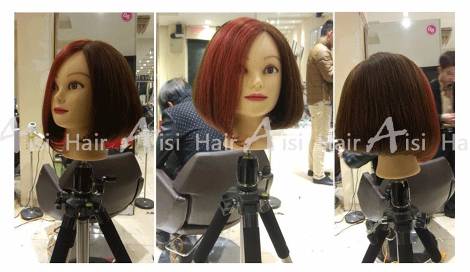 Black18 Inch Human Hair Trainning Head Can Be Permed Colored With Makeup 100% Human Hair Hairdressing Training Head Mannequin
