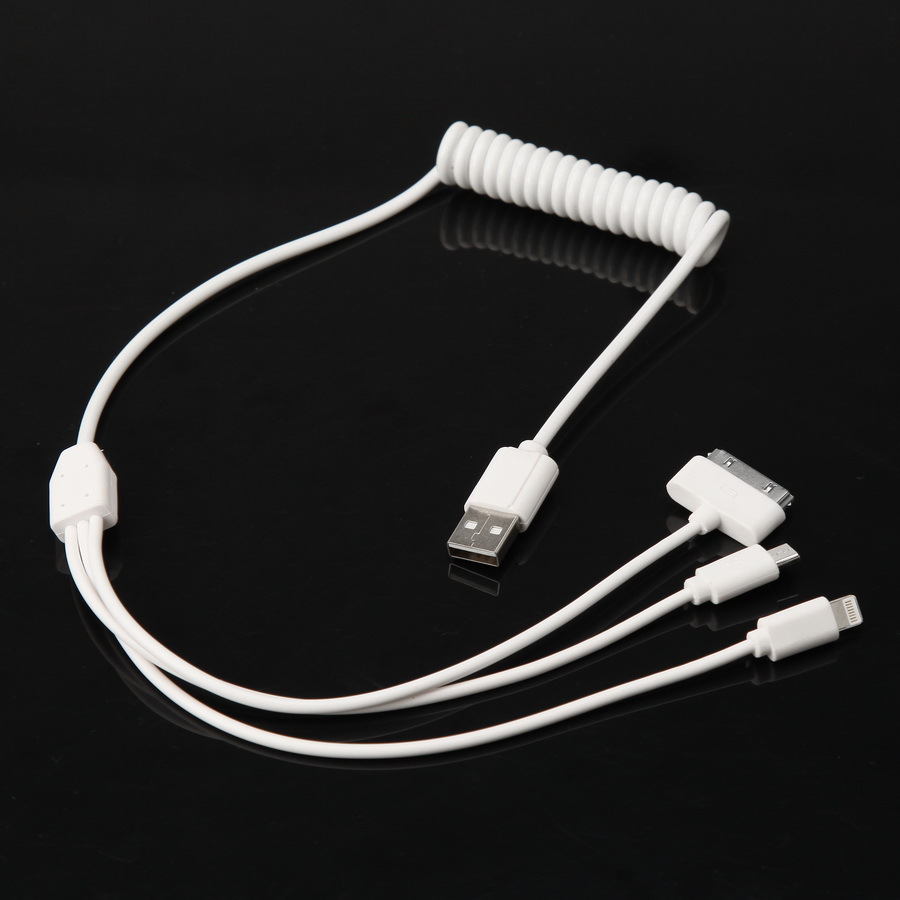 -50% OFF 3 in 1 USB Data Cable Sync Charger Cord White For Samsung iPhone Smart Phone Tablet, Car Phone Charge Cable POSSBAY(China (Mainland))