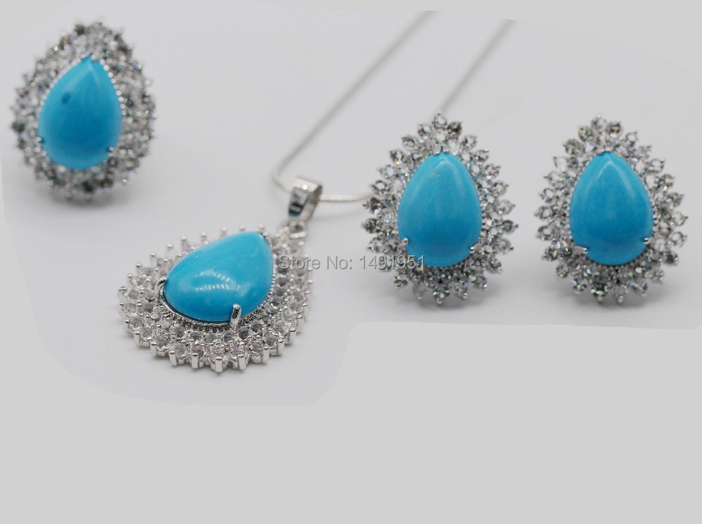 Turquoise Jewelry Set 18kt Gold Plated Turquoise Drop Earrings Ring Pendant Necklace Set(China (Mainland))