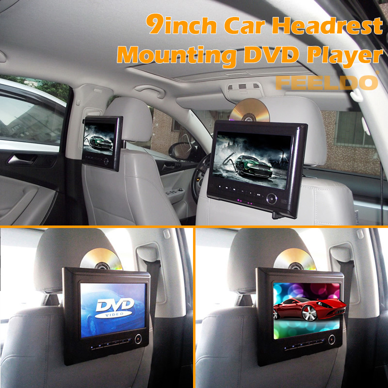 Black 9inch Car Headrest Mounting DVD Media Player Supports USB/SD/IR/FM/32-digit Game/Speaker #4301(China (Mainland))