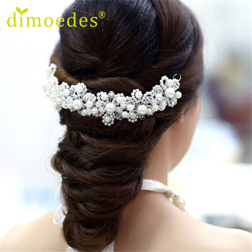 Best Deal Fashion Women hair band White Imitation pearl crystal bride headdress Wedding accessories bridal jewelry 1pc - Voberry Technology Co.,Ltd store