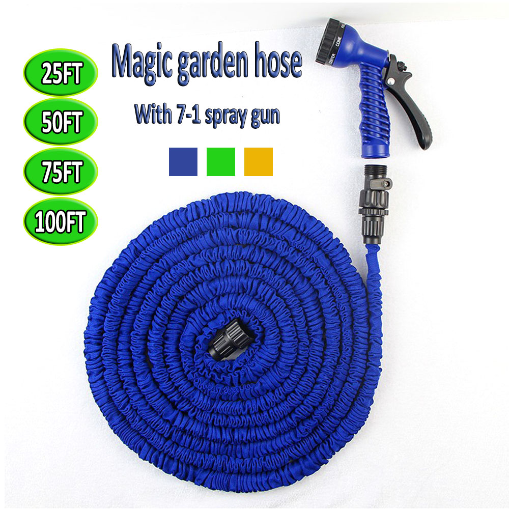 75FT Garden hose Stretched hose watering Green/Blue Magic Expandable Garden Supplies Water Hose with Spray Gun Free Shipping(China (Mainland))