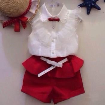 Новый 2015 лето мода шнурка девушки белые блузки + красные шорты одежда комплект twinset