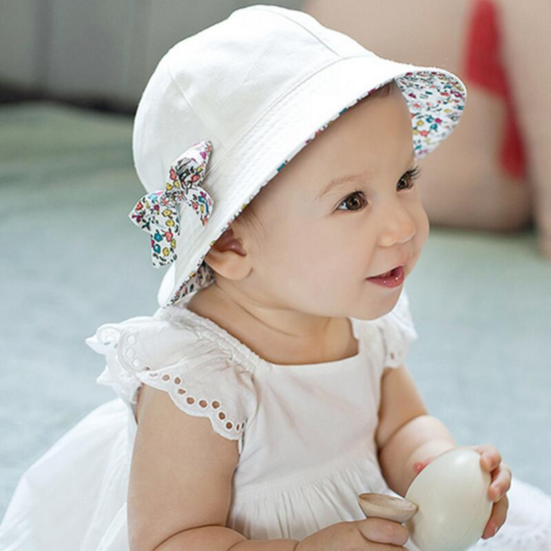 New 2016 Hot Summer Baby Caps Fashion Style Print Bow White/Pink Sun Hat Kids Double Sides Can Wear For 1-3 Y infant Cotton Hats(China (Mainland))