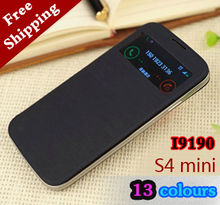 Smart View Sleeve Sleep Function Shell Original Leather Case Flip Cover Holster For Samsung Galaxy S4 Mini I9190 I9192 I9195(China (Mainland))