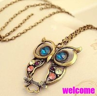 Free shippping Big discount! fashion vintage bronze Rhinestone owl Necklaces Statement  jewelry for women wholesal PT33