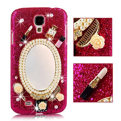 Makeup Mirror Case Samsung I9500 Galaxy S4 Rhinestone Cosmetic Hard Luxurious Bling Diamond Back Cover - Flyfeifei store