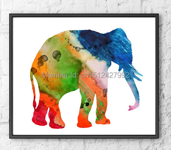 New Free Shipping Modern Home Decoration Abstract Wall Art Picture Elephant Colorful Giclee