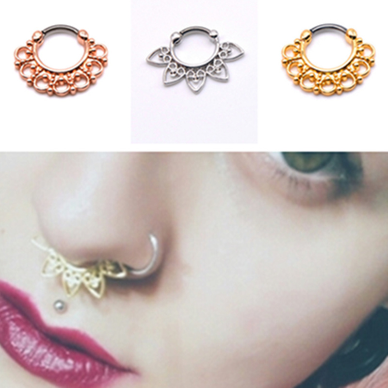 India style fashion nose jewelry women girls nose rings hoops septum and nostril piercing unique - Decorative septum jewelry ...