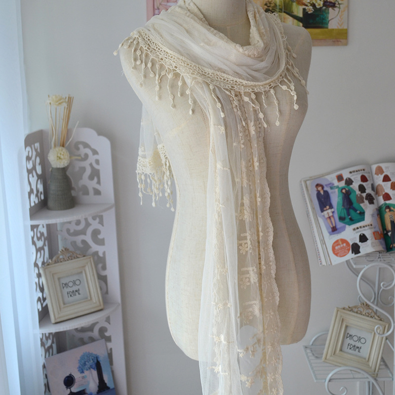 2015 Women Lace Cotton Voile Scarfs Crochet Gauze Cape Fashion Luxury Brand Large Broidery Tassel Shawls Scarves - zoe trade co., ltd store