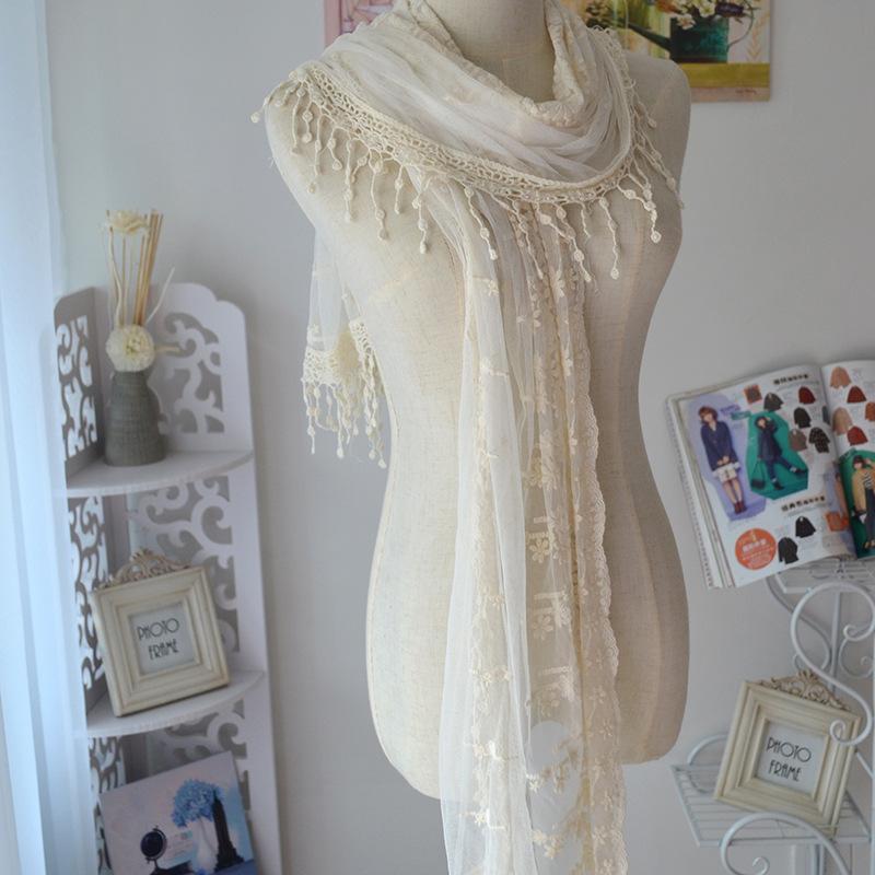 2015 Women Lace Cotton Voile Scarfs Crochet Gauze Cape Fashion Luxury Brand Large Broidery Tassel Shawls Scarves - zoe trade co., ltd store