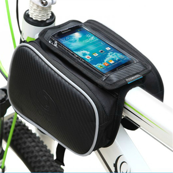 ROSWHEEL Bike Bicycle Cycling Frame Pannier Pack Front Tube Bag Texture Series Touch Screen Phone Practical Fashion - Remember Me Store store