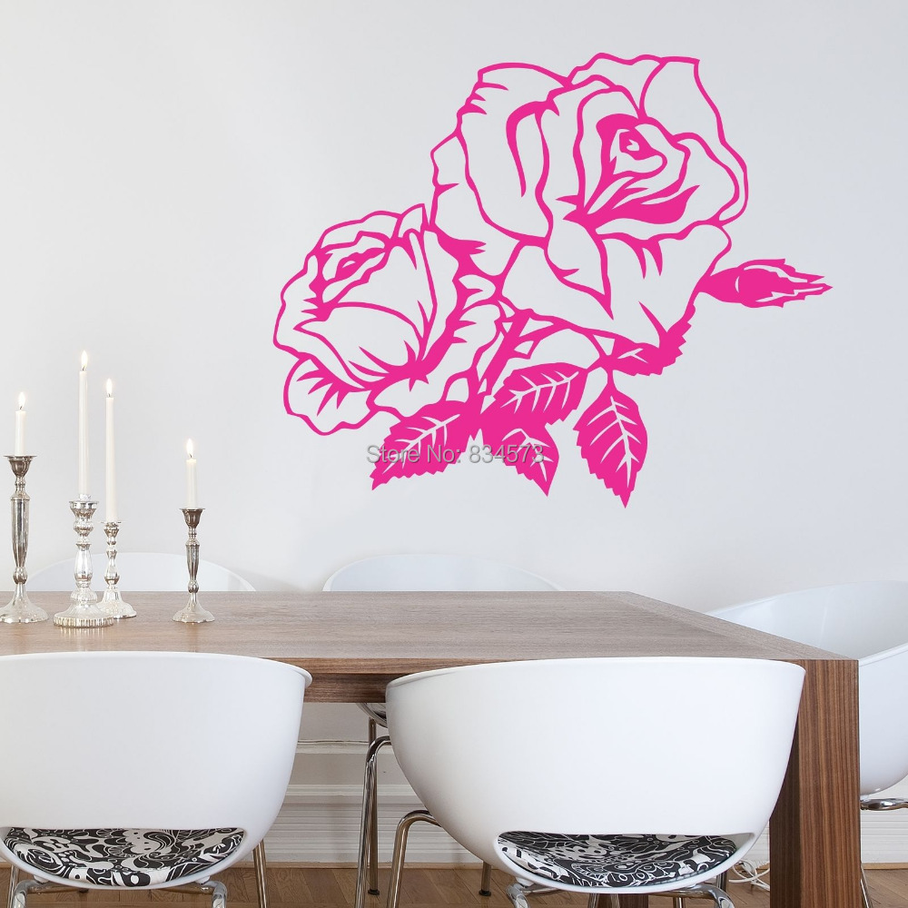 Buy Hot Beautiful Rose Flower Wall Art Sticker Decal Diy Home Decoration Decor