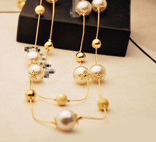 High Quality New 2014 Fashion Women Vintage Accessories Jewelry Elegant Sweater Long Pearl Chain Necklace JJ238