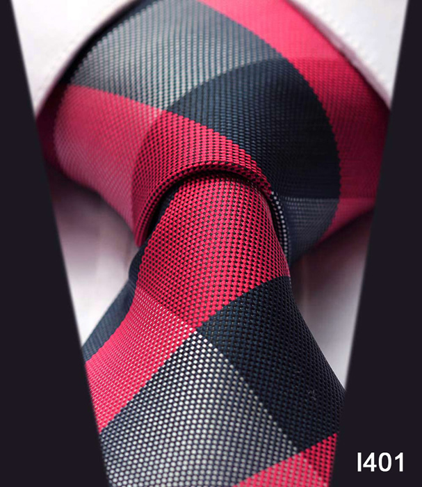 Dot Check Striped New 3.4 inch 100% Silk Jacquard Woven Classic Man's Tie Necktie#I4 - HISDERN store