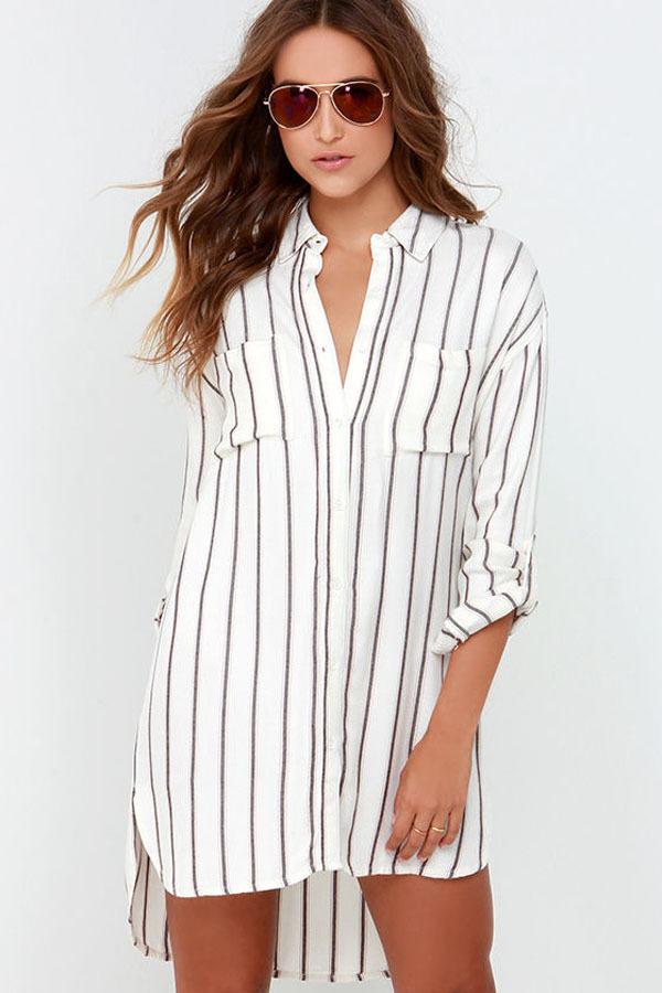 women loose stripe shirt dress 2015 spring summer casual