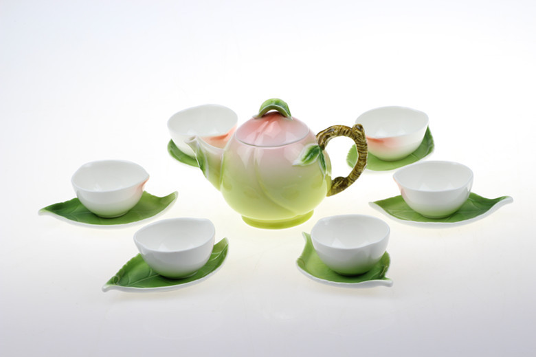 Modern New Chinese Soft Green Peach Peach Tea Sets