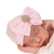 1 pcs Newborn Infant Hats Baby Girls Beanies With Bow Soft Knit Infant Caps Hospital Hats Baby Toddler Hat Accessories(China (Mainland))