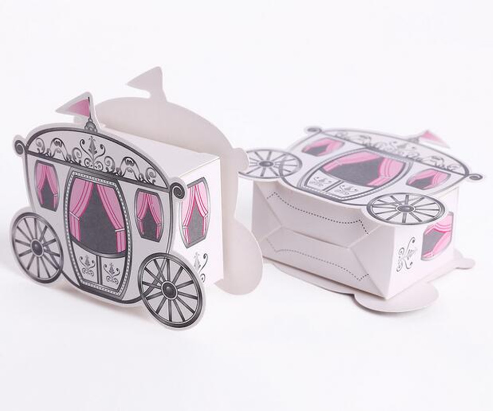 New 50pcs Laser Cut Coach Carriage Pearl Pink Favor Gift Wrap Boxes Shower Party Candy(China (Mainland))