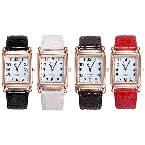 Гаджет  New Design Elegant Men Women Square Dial Quartz Analog Leather Band Watches for Casual Design None Часы