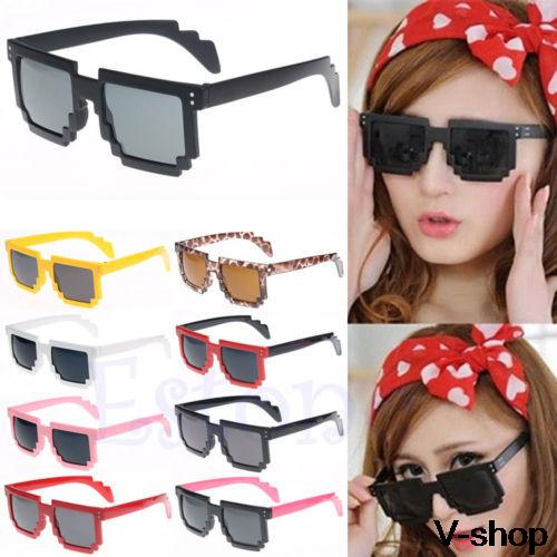 On Sale Retro Trendy Novelty Unisex Cool Pixel Glasses Pixelated Style Square Sunglasses 9Colors Fre
