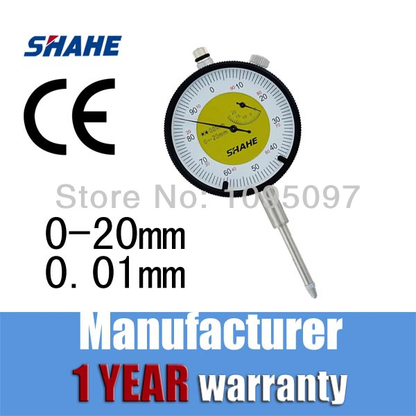 Free Shipping SHAHE High Accuracy Metric Dial Indicators 0.01mm stand dial indicator Dial Gauge 0-20mm(China (Mainland))