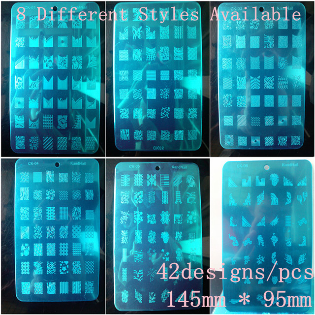 42 Design XL Medium Size Konad Design Stamping Image Plate Print Nail Art Large BIG Template Seal DIY, 8pcs/lot + Free shipping